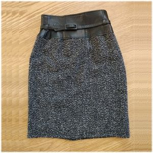 Anne Klein high-waisted wool/leather pencil skirt